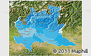 Political Shades 3D Map of Lombardia, satellite outside