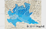Political Shades 3D Map of Lombardia, shaded relief outside