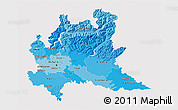 Political Shades 3D Map of Lombardia, single color outside
