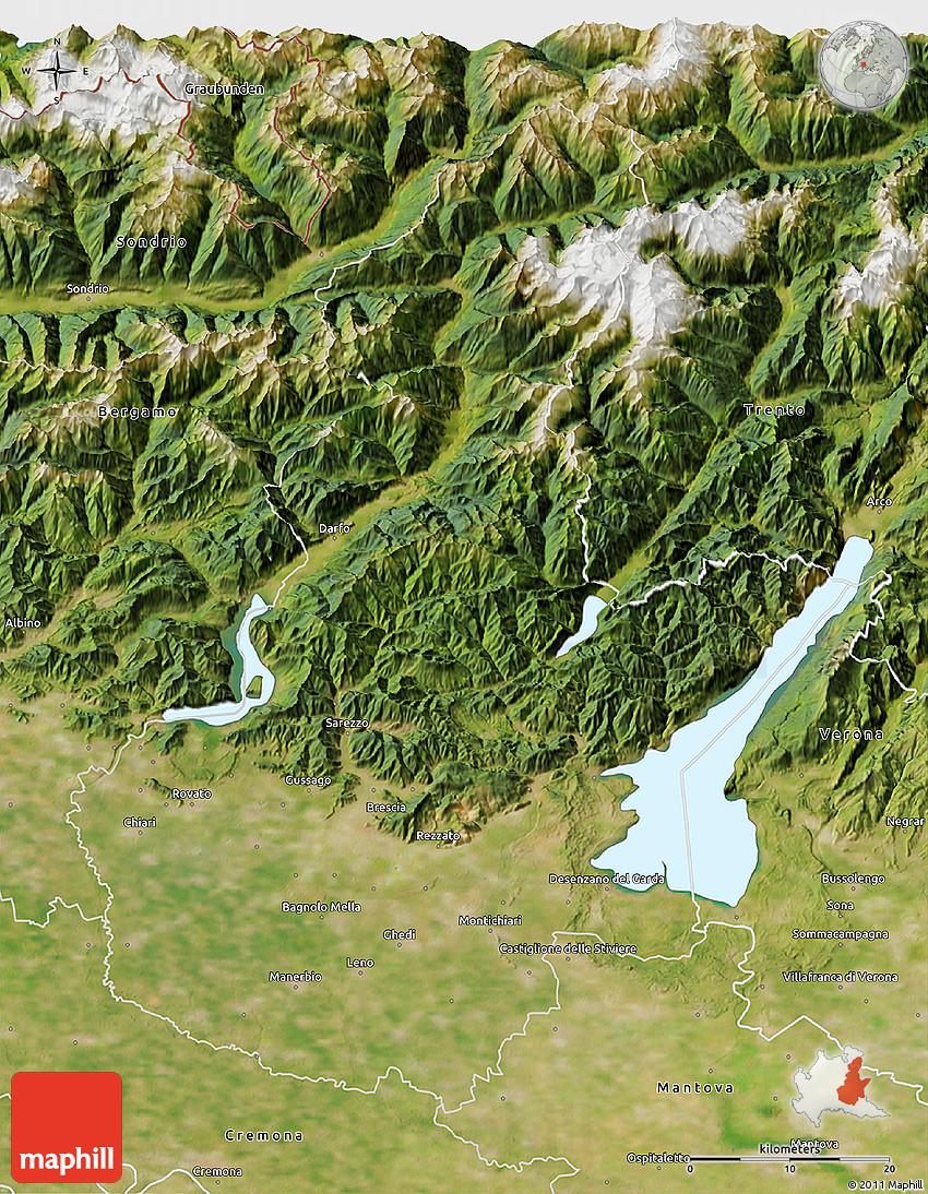 Satellite 3D Map of Brescia