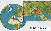 Satellite Location Map of Lombardia