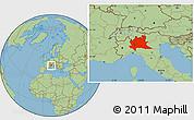 Savanna Style Location Map of Lombardia