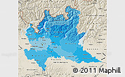 Political Shades Map of Lombardia, shaded relief outside