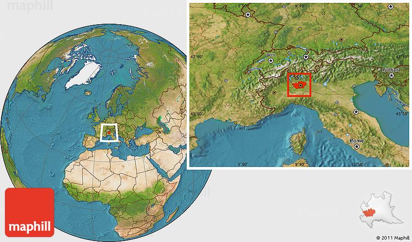 Satellite Location Map of Milano