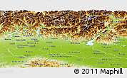 Physical Panoramic Map of Lombardia