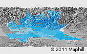 Political Shades Panoramic Map of Lombardia, desaturated