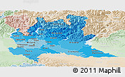 Political Shades Panoramic Map of Lombardia, lighten