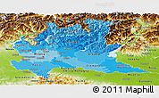 Political Shades Panoramic Map of Lombardia, physical outside