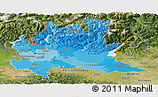 Political Shades Panoramic Map of Lombardia, satellite outside