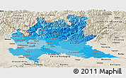 Political Shades Panoramic Map of Lombardia, shaded relief outside