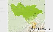 Physical Map of Pavia, lighten