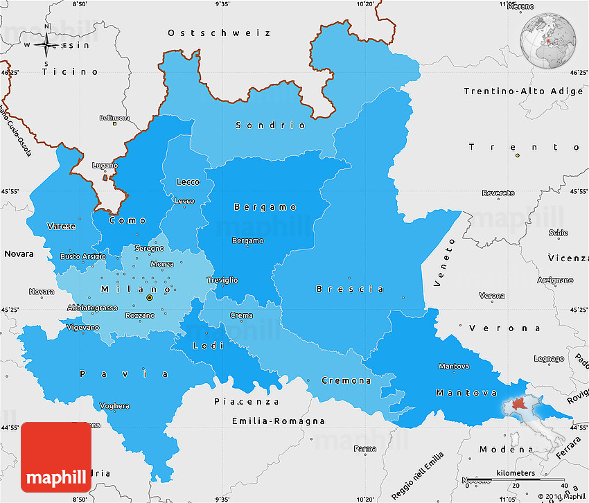 Political Shades Simple Map of Lombardia single color outside
