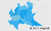 Political Shades Simple Map of Lombardia, single color outside