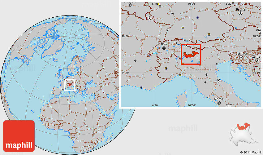 Gray Location Map of Sondrio