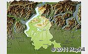Physical 3D Map of Varese, darken