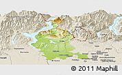 Physical Panoramic Map of Varese, shaded relief outside
