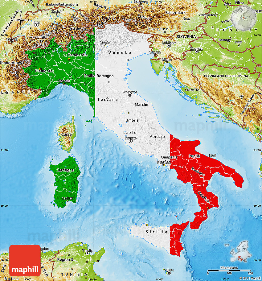 Map Of Italy With Mountains.Flag Map Of Italy Physical Outside