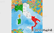 Flag Map of Italy, political outside