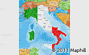 Flag Map of Italy, political shades outside