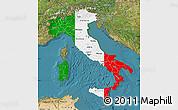 Flag Map of Italy, satellite outside