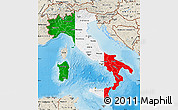Flag Map of Italy, shaded relief outside