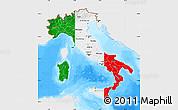 Flag Map of Italy, single color outside, bathymetry sea