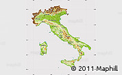 Physical Map of Italy, cropped outside