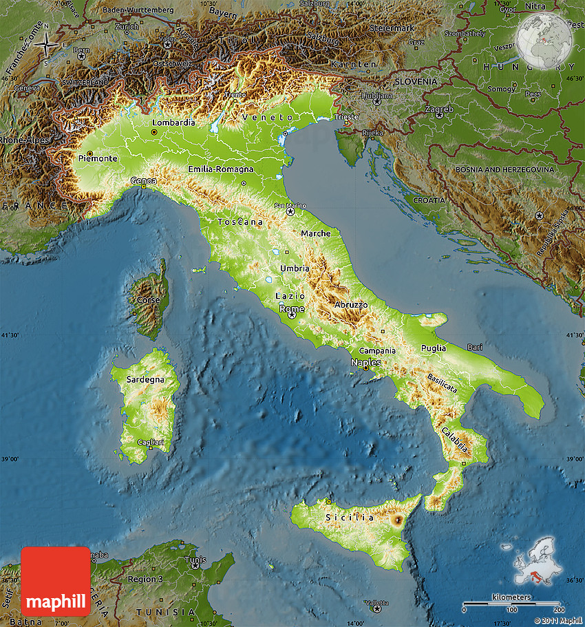 Show A Map Of Italy.Physical Map Of Italy Darken