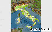 Physical Map of Italy, darken