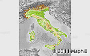 Physical Map of Italy, desaturated