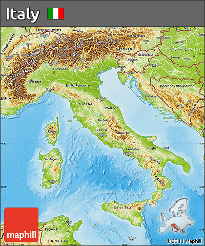 Free Physical Map Of Italy - Physical map of italy