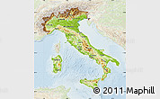 Physical Map of Italy, lighten