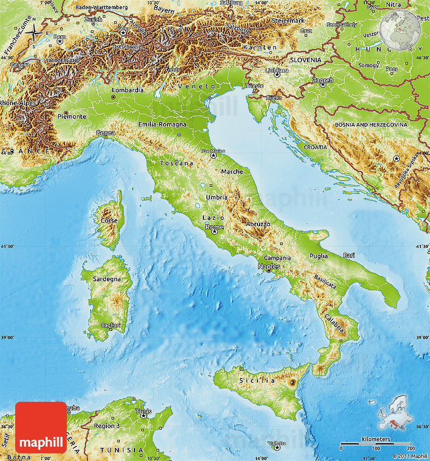 Physical Map Of Italy - Map of italy