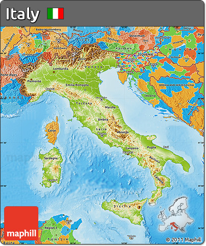 Free Physical Map Of Italy Political Outside Shaded Relief Sea - Physical map of italy