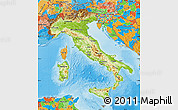 Physical Map of Italy, political outside, shaded relief sea