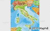 Physical Map of Italy, political shades outside, shaded relief sea