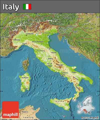 Free Physical Map Of Italy Satellite Outside