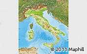 Physical Map of Italy, satellite outside, shaded relief sea