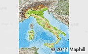 Physical Map of Italy, semi-desaturated, land only