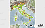 Physical Map of Italy, semi-desaturated