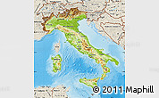 Physical Map of Italy, shaded relief outside