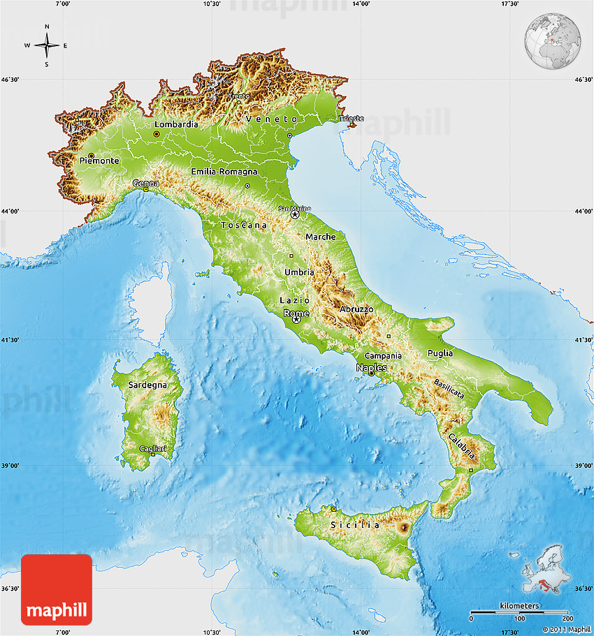 Physical Map of Italy, single color outside