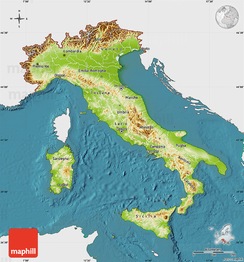 Physical Map of Italy, single color outside, satellite sea on san marino italy, capital of italy, prato italy, landmarks of italy, ancona italy, mezzogiorno italy, lake garda italy, animals of italy, absolute location of italy, lakes of italy, printable map italy, rivers of italy, turin italy, physical map portugal, northern italy, geography of italy, culture of italy, people of italy, cities in italy, elevation in italy,