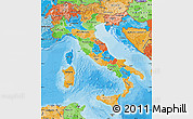 Political Map of Italy, political shades outside