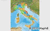 Political Map of Italy, satellite outside, bathymetry sea