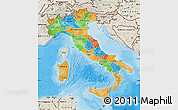 Political Map of Italy, shaded relief outside, bathymetry sea
