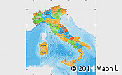 Political Map of Italy, single color outside