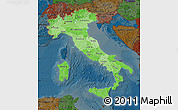 Political Shades Map of Italy, darken