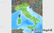 Political Shades Map of Italy, darken, semi-desaturated, land only