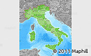 Political Shades Map of Italy, desaturated, land only